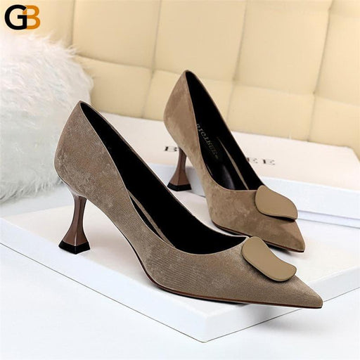 Autumn Elegant Women Suede 7cm Kitten High Heels Pumps Luxury Designer Flock Medium Heels Tacones - SolaceConnect.com