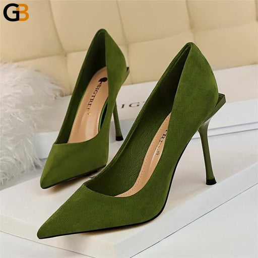 Autumn Elegant Women Yellow Blue Green Pencil High Heels Pumps Stiletto Spring Female Luxury - SolaceConnect.com