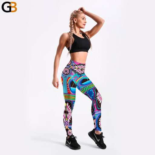 Women's Ethnic Floral Printed Retro Colored Stretchable Fitness Leggings - SolaceConnect.com