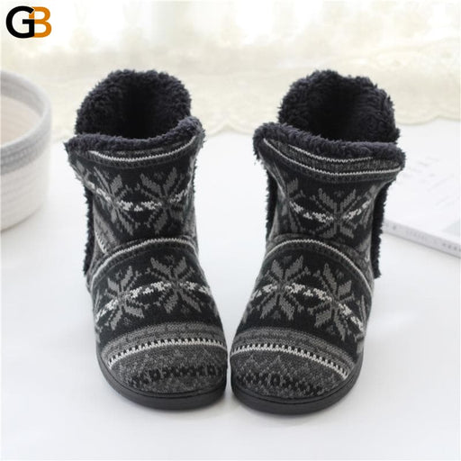 Winter Warm Home Slipper Men and Women Family Cotton Shoes Female Male Platform House Slides - SolaceConnect.com