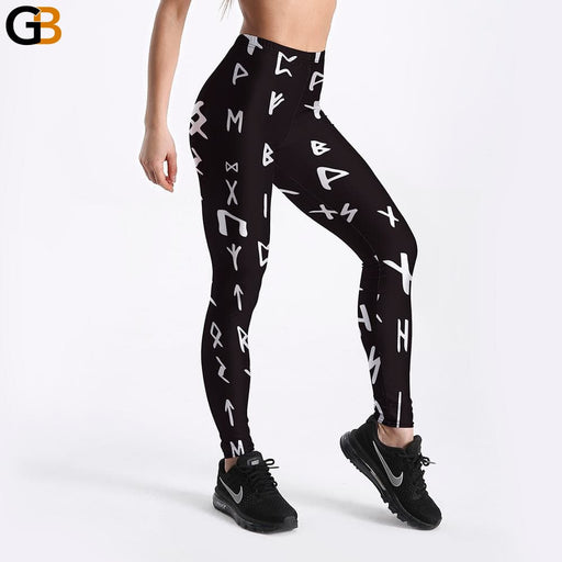 Women's Left Arrow Digital Printed Stretchable Black Fitness Leggings - SolaceConnect.com