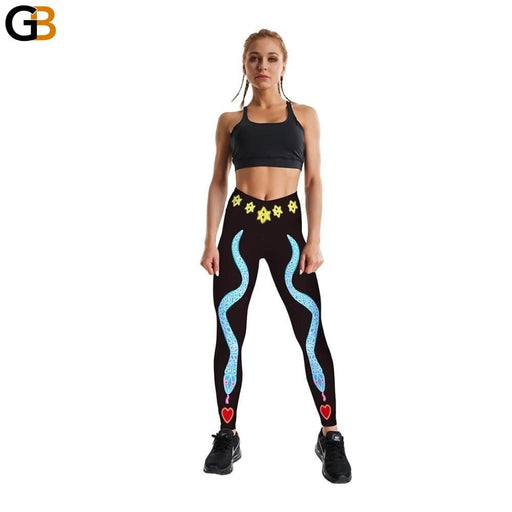 Women's Loving Blue Snake Printed Black Leggings for Fitness - SolaceConnect.com
