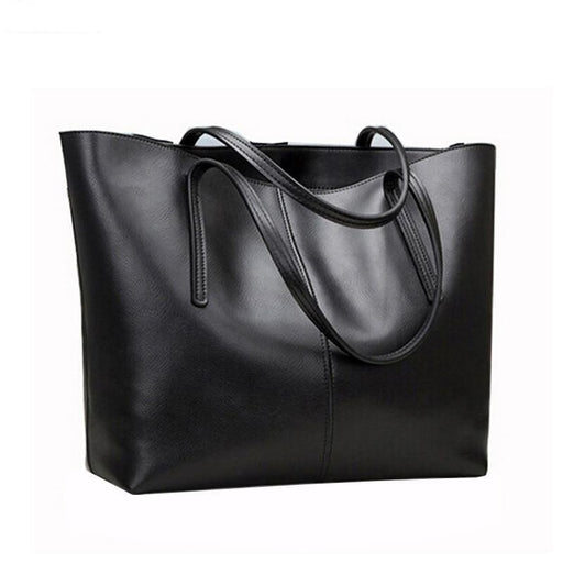 Genuine Big Black Luxury Leather Shoulder Bag Famous for Women - SolaceConnect.com