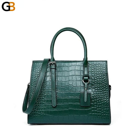 Women's Fashionable Big Crocodile Pattern Cowhide Crossbody Handbags - SolaceConnect.com