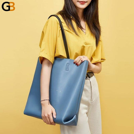 Women's Fashionable Genuine Leather Big White Tote Handbags - SolaceConnect.com