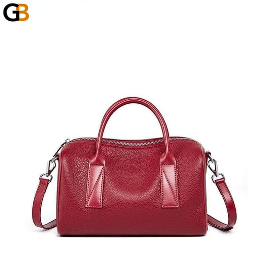Women's Fashionable Genuine Leather Red Boston Crossbody Hand Bags - SolaceConnect.com