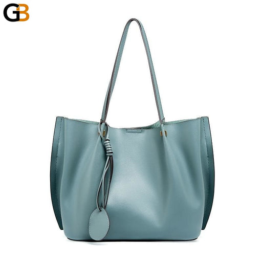 Women's Luxury Fashion Big Soft Genuine Leather Shoulder Handbags - SolaceConnect.com