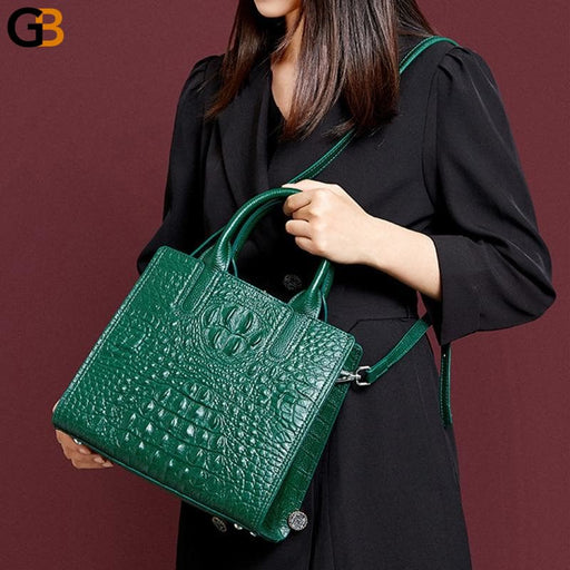 Women's Crocodile Patterned Leather Black Vintage Shoulder Bags - SolaceConnect.com