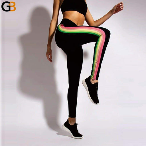 12% Spandex Workout For Running Leggings High Waist Sport Women Printed Rainbow Stripes Trousers - SolaceConnect.com