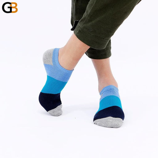 Summer Color Patchwork Men's Socks Embroidered Boat Socks Cotton Casual Short Socks - SolaceConnect.com
