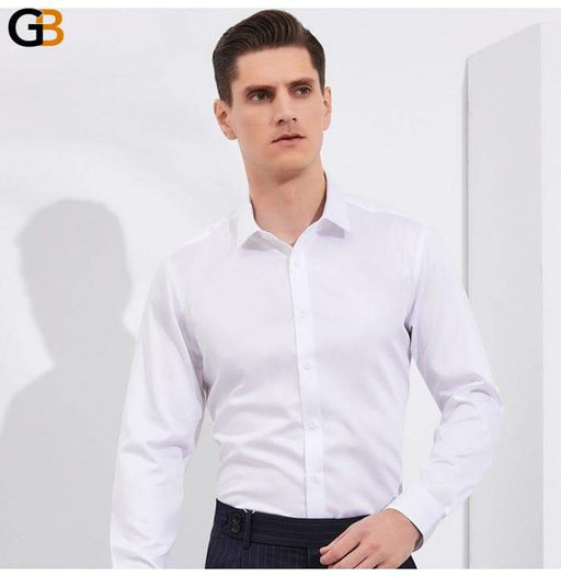 Formal 100% Cotton Non-iron Long Sleeve Solid Basic Design Shirt for Men - SolaceConnect.com