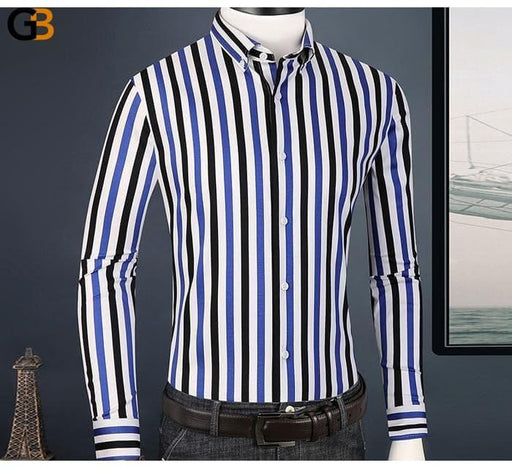 Casual Fashion Cotton Multi-Color Striped Long Sleeve Shirts for Men - SolaceConnect.com