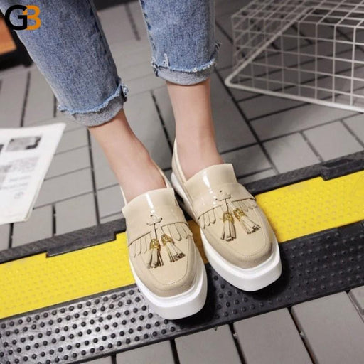 European Style Retro Tassels Platform Slip-On Leather Loafers for Women - SolaceConnect.com