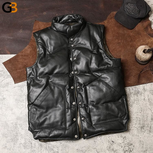 G-KLX US big size Cow skin vest men's cowhide leather vest mens 90% duck feather down warm vest - SolaceConnect.com