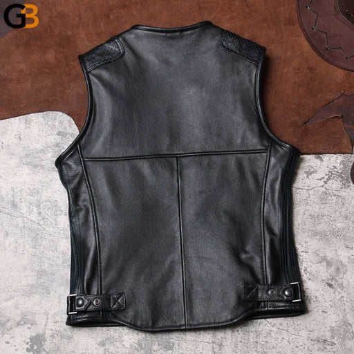 DSV2 Read Description! Asian size cowhide vest men's cow leather vest - SolaceConnect.com