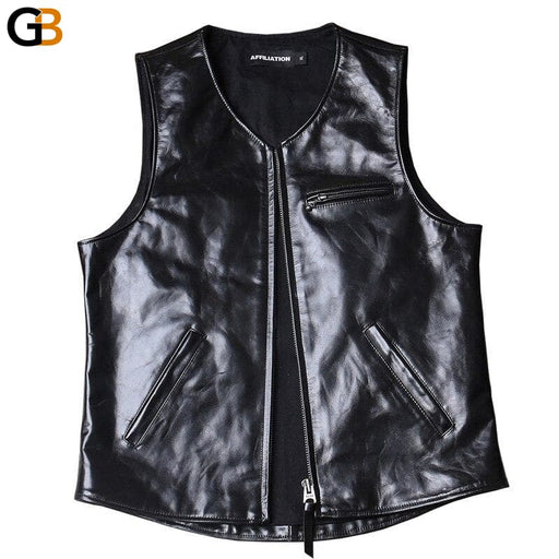 DSMP4 Read Description! Asian small size horsehide vest men's horse leather vest - SolaceConnect.com