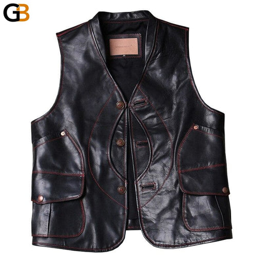 Asian small size horsehide vest men's horse leather vest - SolaceConnect.com