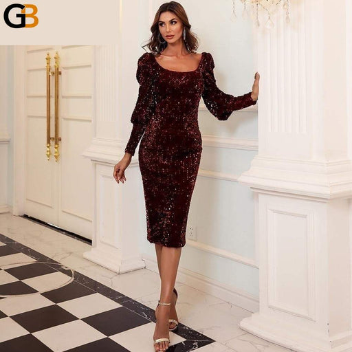 Autumn Winter Sequins Midi Dress Women Fashion Square Collar Bodycon Dress Backless Evening Party - SolaceConnect.com