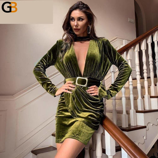 Sexy Deep V Neck Autumn Winter Velvet Dress Women Long Sleeve Short Party Elegant High Wasit Mini - SolaceConnect.com