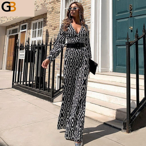 Sexy Long Sleeve Deep V Neck Women Jumpsuits Female Vintage Print Overalls Wide Leg Office Rompers - SolaceConnect.com