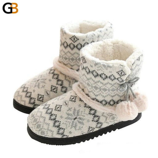 Winter Fur Home Slippers Women Warm Cotton Flat Platform Indoor Floor Shoes For Female Womens - SolaceConnect.com