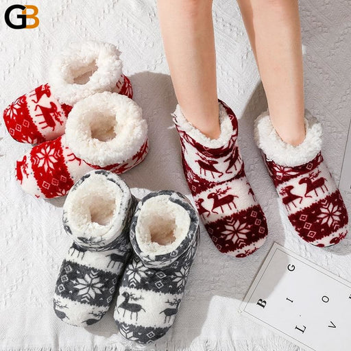 Winter Coral Fleece Indoor Slippers Women Plush warm home slipper women animal print Christmas - SolaceConnect.com