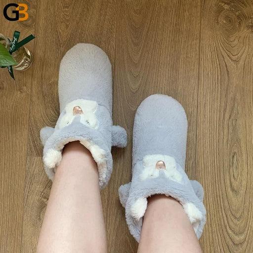 Cute Cartoon Women Men Slippers Home Furnishing Soft Soled Cotton Boots Indoor Wrapped Heel Shoes - SolaceConnect.com