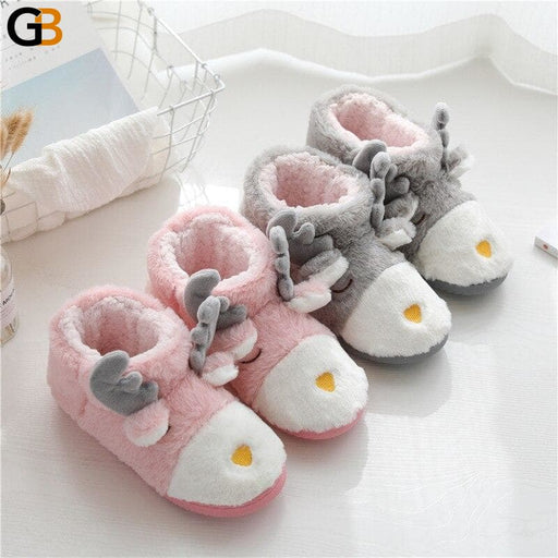 Winter Women Cute Cartoon Animal Deer Plush Home Slippers Ladies Warm Cotton Flat Shoes Female Girls - SolaceConnect.com
