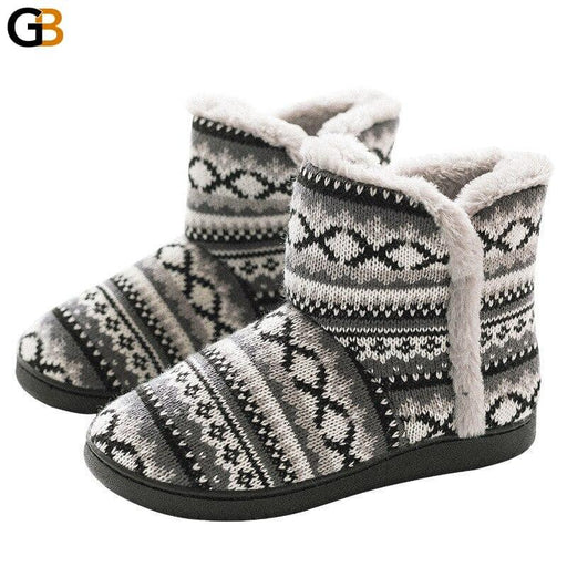 Winter High Top Winter Home Boots Thick Soled Home Slippers Non Slip Belt Heel Warm Shoes Men And - SolaceConnect.com
