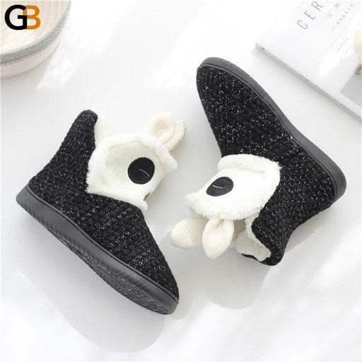 Cute Cartoon Rabbit Ear Women House Slippers Winter Warm Plush Womens Furry Indoor Shoes Flats Non - SolaceConnect.com