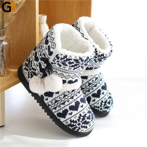 Weave Plush Slippers Winter Fur Home Slippers Women Warm Cotton Flat Platform Indoor Shoes Women - SolaceConnect.com
