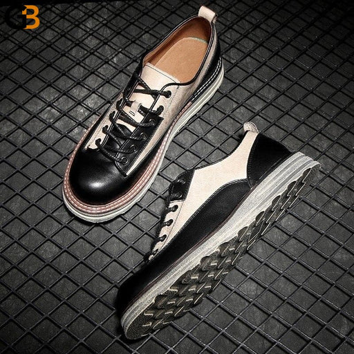 England Style Mens Mixed Colors Genuine Leather Casual Shoes Vintage Cowhide Thick Bottom Round - SolaceConnect.com