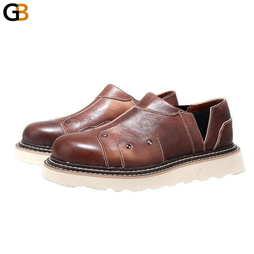 Mens Genuine Leather Casual Shoes Breathable Slip On Round Toe Thick Bottom Vintage Cowhide - SolaceConnect.com