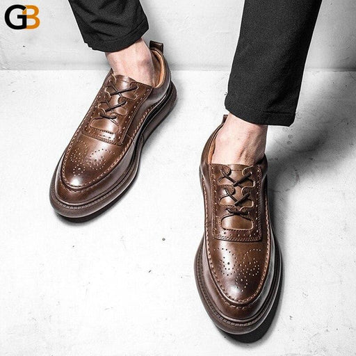 Classic Retro England Style Carved Brogue Shoes Male Handmade Mens Genuine Leather Shoes Fashion - SolaceConnect.com