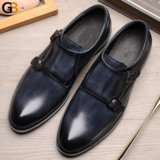 England Style Retro Wedding Dress Shoes Men Double Buckle Strap Genuine Leather Business Formal - SolaceConnect.com