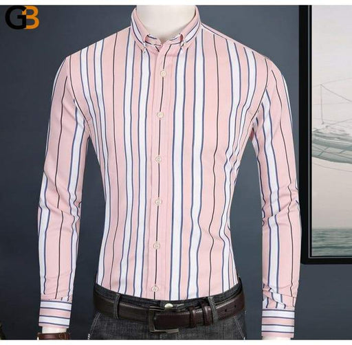 Holiday Casual Long Sleeve Modal Cotton Yellow Striped Pocket Less Shirts - SolaceConnect.com