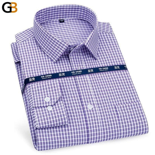 Men's Formal Coton Long Sleeve Plaid Striped Regular Fit Shirt - SolaceConnect.com