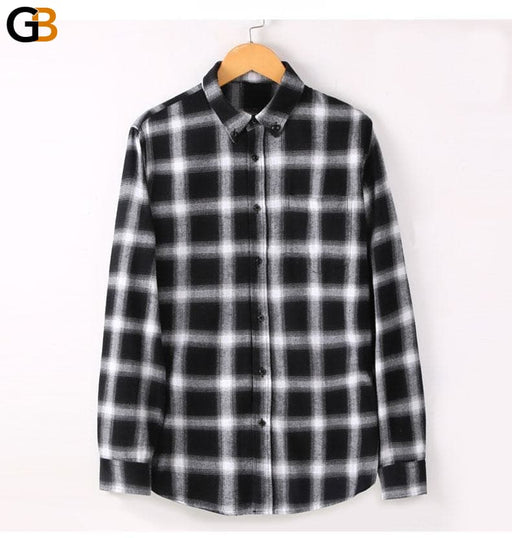 Men's 100% Cotton Brushed Flannel Plaid Long Sleeve Casual Shirt - SolaceConnect.com