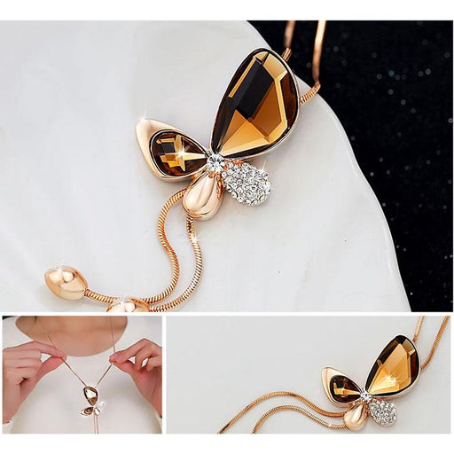 Classic Crystal Butterfly Tassel Fashion Jewelry Long Necklace for Women - SolaceConnect.com