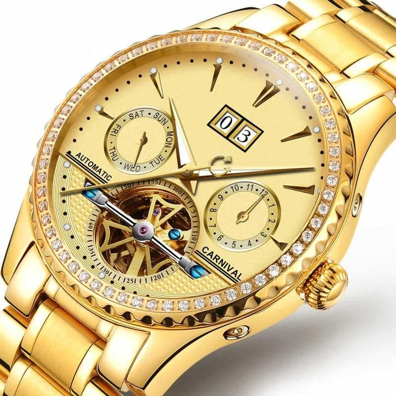 Men's Fashion Fully-Automatic Mechanical Waterproof Luminous Gold Watch - SolaceConnect.com