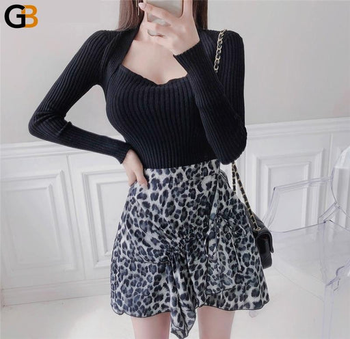 Chic Square Collar Elastic Sweater Jumpers Winter Warm Slim Female Knitted Pullovers Ladies - SolaceConnect.com