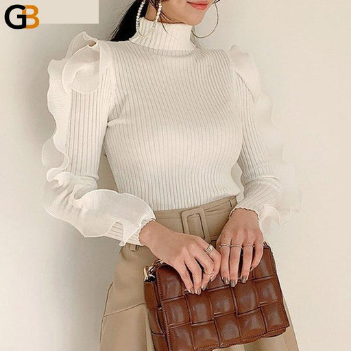 Chic Ladies Turtleneck Pullover Sweaters Elegant Long Sleeve Hollow Out Ruffles Female Solid - SolaceConnect.com