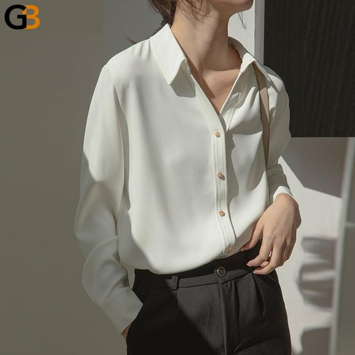 Spring Casual Turn down Collar White Shirt Blouse for Women Vintage Single breasted Solid Shirts - SolaceConnect.com