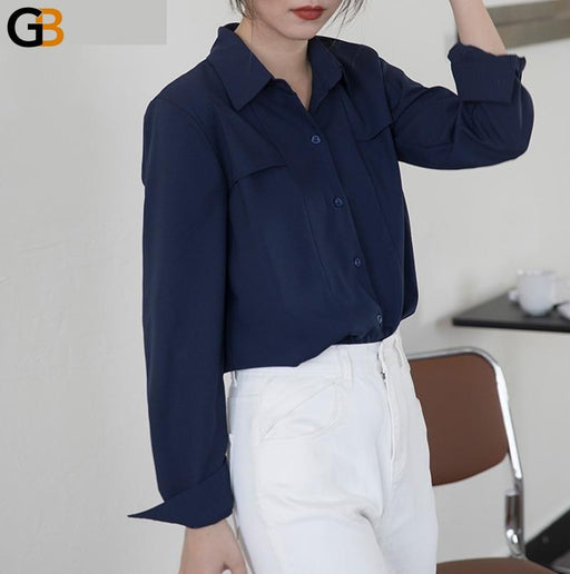 Chic Turn Down Collar Women Single breasted Blouse Elegant Loose White Shirts Ladies Long Sleeve - SolaceConnect.com