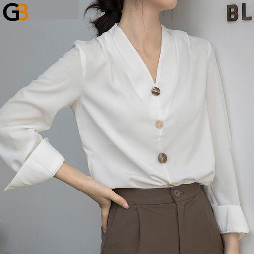 Elegant V neck Women Shirts Tops Spring Chic Single breasted Female Solid Blouse Ladies Workwear - SolaceConnect.com