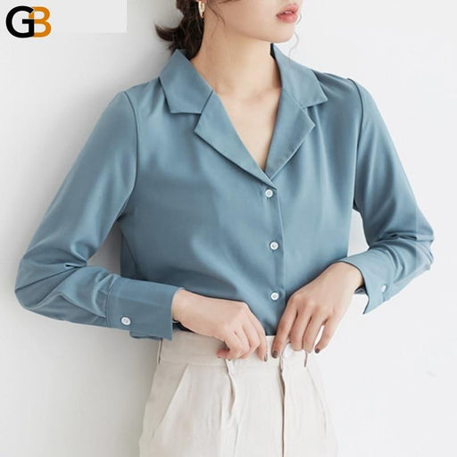 Chic Ladies Notched Collar Solid Blouse Tops Elegant Long Sleeve Slim Female Shirts Spring Fashion - SolaceConnect.com