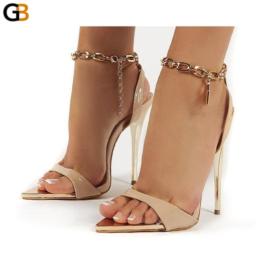 Summer Thin High Heels Women's Shoes Fashion Sexy Metal Decoratio Cross Tied Retro Patchwork Head - SolaceConnect.com
