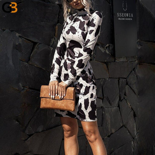 Stand up Collar Printing Dress Women Autumn Winter Dress Mini Casual Bodycon Dress Long Sleeve - SolaceConnect.com