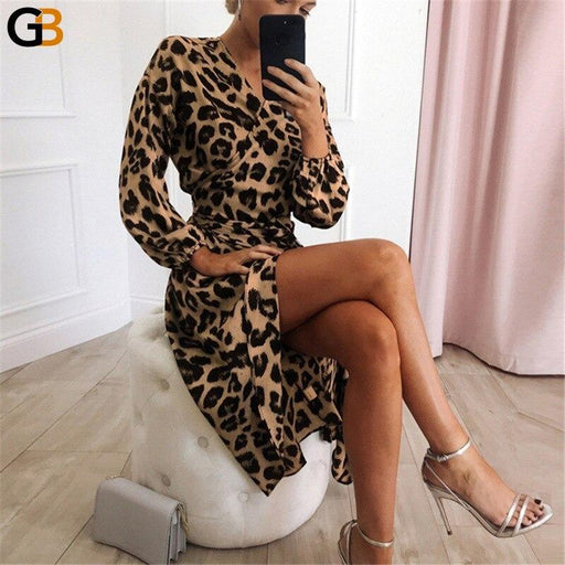 Leopard V neck Midi Dress Women Elegant Autumn Winter Dress Casual Clothes Women Sashes Irregular - SolaceConnect.com