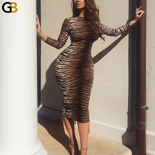 Turtleneck Leopard Dress Women Autumn Winter Dress Midi Sexy Bodycon Dress Long Sleeve Package Hip - SolaceConnect.com